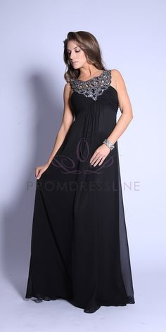 Great price! Get in Burgundy - Chiffon Sparkly Trimed Boat Neck Empire Waistline Long Prom Dress - N2592