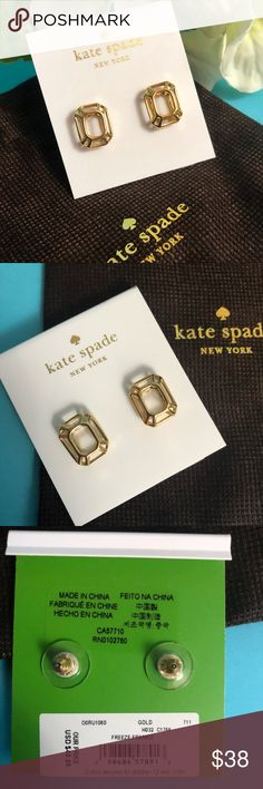 """Kate Spade """"Freeze Framed"""" Gold Earrings Kate Spade """"Freeze Framed"""" Gold Earrings  Brand new On original card with sticker intact Includes Kate Spade jewelry bag kate spade Jewelry Earrings"""