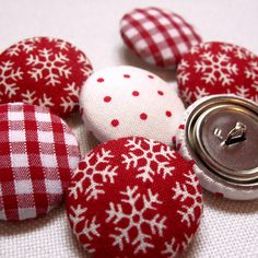 Red Fabric Buttons by by Jenny Arnott - available for purchase from Not on the High Street.