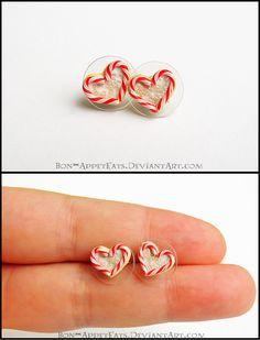 Heart Shaped Candy Cane Sugar Cookie Earrings by Bon-AppetEats.deviantart.com