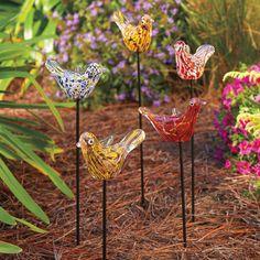 Wee Tweeter Garden Décor - Hand-blown glass birds add a rich burst of color to your garden.