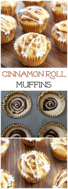 These adorable brunch muffins have swirls of cinnamon sug… Cinnamon Roll Muffins. These adorable brunch muffins have swirls of cinnamon sugar and a drizzle of vanilla glaze. A great idea for Easter! Yummy Treats, Delicious Desserts, Sweet Treats, Yummy Food, Cinnamon Roll Muffins, Cinnamon Rolls, Cinnamon Swirls, Cinnamon Roll Cupcakes, Cinnamon Cake