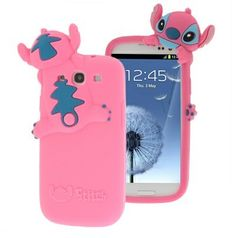 PINK Cute 3D Stereoscopic Stitch Cases Back Cover for Samsung Galaxy S3 i9300