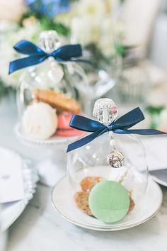 Love this idea of mini glass bell jars with sweets! Glass Bell Jar, Bell Jars, The Bell Jar, Something Blue Bridal, Wedding 2015, Parisian, Event Planning, Wedding Venues, Bridal Shower