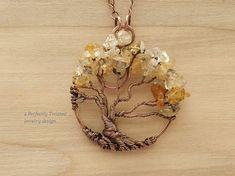 Collar de alambre envuelto árbol de la vida, citrino piedras preciosas joyería…