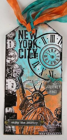 Darkroom Door New York Vol 1 rubber stamps Tag created by Suzanne Czosek. Atc Cards, Card Tags, Gift Tags, Mix Media, Handmade Tags, Artist Trading Cards, Copics, Distress Ink, Scrapbook Pages
