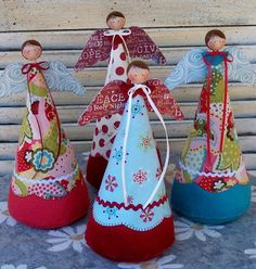 Christmas angels using a cone shape, they have painted wooden bead heads, scrapbooking paper wings, and bright fabrics. Christmas Sewing, Christmas Angels, Christmas Art, Christmas Projects, All Things Christmas, Christmas Holidays, Christmas Decorations, Christmas Ornaments, Birthday Decorations