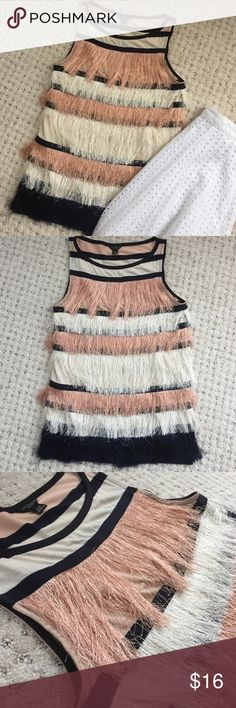 Ann Taylor Fringe Top 💕ALL OFFERS ACCEPTED! BUNDLES ENCOURAGED! 💕 Beautiful fringe striped top. Very pretty, only worn a few times. Dry clean only. Sometimes the little fringe threads WILL fall out if you tug on them, but it still looks perfect. Ann Taylor Tops Blouses