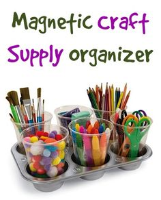 Magnetic Craft Supply Organizer! {simple little trick to keep those craft supplies organized!} #organizing #crafts