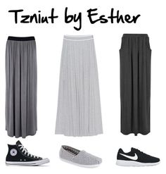 """Casual tzniut"" by esther-estee on Polyvore featuring Juvia, Boohoo, Warehouse, NIKE, TOMS, casual, skirts and Tzniut"