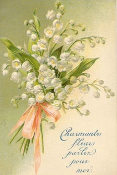 Lily of the valley vintage postcard