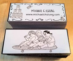 Our Mini business cards sized at 2.75 x 1.1. We used 14pt C2S Eco friendly paper to print the cards for Michael C. Hsiung