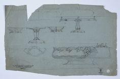 Gustav Gaudernack. Sketches for several silver dishes. Pencil drawing 1900-1910. Tegning @ DigitaltMuseum.no