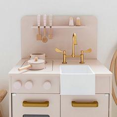 Wooden Toy Kitchen in Soft Pink Wooden Dollhouse, Wooden Dolls, Dollhouse Furniture, Toddler Table And Chairs, Table And Chair Sets, Wooden Toy Kitchen, Toddler Furniture, Doll House Crafts, Games
