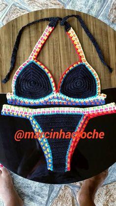 Marcinha crochê: Biquini de crochê com elastico colorido
