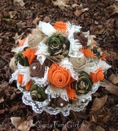 Ready to Ship - Camo and Orange Burlap and Lace Bridal Bouquet - Rustic, Hunting, Camouflage Wedding Bouquet  on Etsy, $85.00