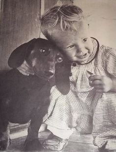 Toddler with Dachshund, Vintage Photo onebay.com