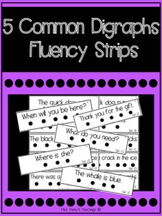 If you liked my First Grade Sight Word Fluency Strips, then you'll love this assortment of 5 common digraphs! 50 different sentences divided into 5 groups of 10! Perfect for centers and phonics time. Students can read the strips and if laminated practice marking up the words!   Please leave your comments or questions at my store or email me at misspennysteachings@gmail.com  Find me on instagram at @misspennysteachings