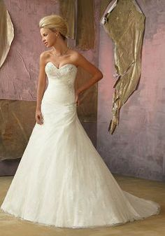 Dazzeling Tulle Floor Length Sweetheart A line Court Train Wedding Dresses - Lunadress.co.uk