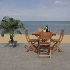 """SAFAVIEH Outdoor Living Kresler Folding Table - 35.4""""x35.4""""x29.5"""" - On Sale - Overstock - 29593358 3 Piece Bistro Set, Outdoor Furniture Sets, Outdoor Decor, Romantic Getaway, Outdoor Living, Home And Garden, Indoor, Patio, Table"""