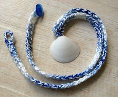 Shell Necklaces, Crocheted Shell Necklaces, Button Closure, Beach Jewelry, Blue or Purple