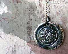 Fine Silver Monogram Wax Seal Necklace