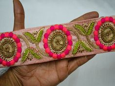 Lace Trims – Peachy Pink Embroidered Decorative Trim  – a unique product by indianlacesandfabric on DaWanda     You can purchase from below link or What's App no. is +91-9999684477. We also take wholesale inquiries    https://en.dawanda.com/product/121395271-peachy-pink-embroidered-decorative-trim