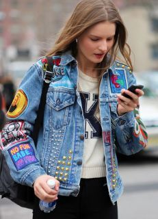 Another combo with studs and iron-on patches!     Details:   Vintage Patchwork Denim for Fall (And How to DIY Your Own)