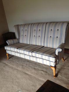 Reupholstered Parker knoll - blue stripe sofa Parker Knoll, Striped Sofa, Outdoor Furniture, Outdoor Decor, Blue Stripes, Bench, Chairs, Home Decor, Decoration Home