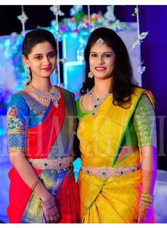 The diamonds are not too in your face Bridal Blouse Designs, Saree Blouse Designs, Blouse Patterns, South Indian Bride, Kerala Bride, Hindu Bride, Indian Bridal Sarees, Traditional Silk Saree, Indian Designer Wear
