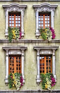 Annecy, Haute-Savoie, France ~ flowered window boxes in this charming town on a beautiful lake in the French Alps Garden Windows, Windows And Doors, Beautiful Buildings, Beautiful Places, Fachada Colonial, Through The Window, Window View, Window Boxes, Doorway