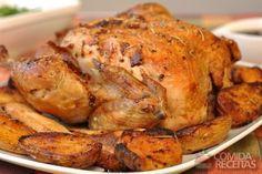 Receita de Frango assado ao creme de cebola e azeite em receitas de aves, veja essa e outras receitas aqui!
