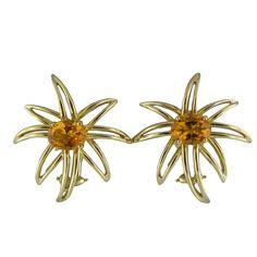 TIFFANY & CO Fireworks Gold Citrine Earrings