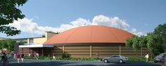 Rendering of Fowler's Gymnasium — Michael McCoy of Midwest City, OK began designing Monolithic Dome facilities in 2008. Asked if Monolithic Dome designing is either harder or easier than more commonly expected and accepted architecture in America, Michael said,
