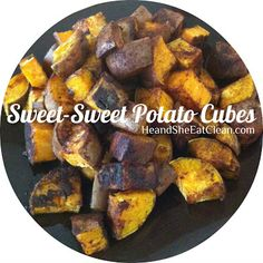 He and She Eat Clean: Clean Eat Recipe :: Sweet-Sweet Potato Cubes // Kind of Paleo? I've seen sweet potato as optional on some lists. Paleo Recipes, Real Food Recipes, Cooking Recipes, Paleo Food, Cooking Tips, Healthy Cooking, Healthy Snacks, Healthy Eating, Roasted Sweet Potato Cubes