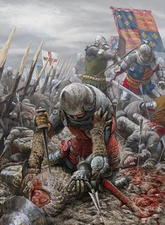 Brutal hand-to-hand struggle between English and French knights in the muddy battlefield of Agincourt, Hundred Years War- by Radu Oltean Medieval World, Medieval Knight, Medieval Armor, Medieval Fantasy, Medieval Times, Larp, Vikings, Battle Of Agincourt, Medieval Drawings