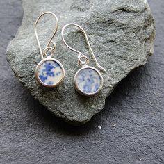 Pottery Shard and Silver Earrings - Blue and White Spongeware / Splatterware Dots. £25.00, via Etsy.