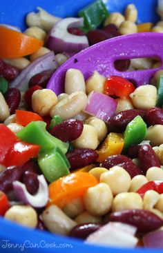 Rainbow Bean Salad recipe from Jenny Jones (JennyCanCook.com) - #beansalad #jennyjones