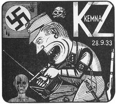 Günther Strupp (German 1912 – 1996) -  woodcut , 1933 ......Strupp, who was held at Kemna concentration camp around the age of 21. The woodcut is filled with details of the artist's imprisonment, the date, German name of the camp (KZ Kemna), weapons used to beat and torture prisoners, evidence of blood and violence. The guard is identified as an SA man (see the handle of his dagger), the pips on the collar of his uniform, the style of his cap, the swastika on his arm......
