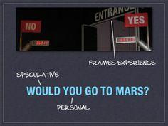 """De tentoonstelling  Facing Mars van het Ontario Wetenschaps Centrum vroeg bezoekers bij binnen- en buitengaan of zij naar Mars zouden gaan. Dit bevestigden ze door een van de twee ingangen te kiezen (yes, no). Bezoekers konden zo aangeven of het tentoonstellingsbezoek gaandeweg hun mening gewijzigd had. De aantallen """"yes"""" of """"no"""" waren ook zichtbaar op een display boven de ingangen, zodat er sociale interactie ontstond rond de vraag. Bron: Nina Simon, The Participatory Museum."""