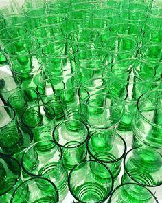 Sea of green glass  #love #magnolia #interiors #Moroccan #teaglasses #greenglass #gloriousgreen #jamesst #homewares #entertaining #christmas