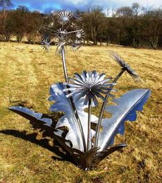 Stainless steel Garden Or Yard / Outside and Outdoor sculpture by artist Tim Roper titled: 'Dandelion (Stainless Steel Large or Big garden Plant sculptures/statue)'