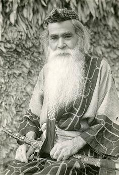 Ainu elder with a sword, Hokkaido, ca. 1945