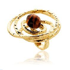 Δαχτυλίδι Αriadni από επιχρυσωμένο ασήμι 925 με tiger eye