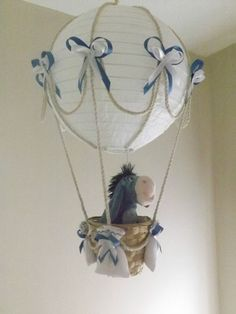 Hot Air Balloon Lamp/light shade with Disney Eeyore - for child's room or nursery Disney Rooms, Disney Nursery, Disney Babys, Baby Disney, Lampe Rose, Air Balloon, Balloons, Winnie The Pooh Nursery, Deco Kids