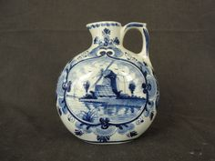 Vintage Delfts Blauw Blue Bottle w/ Windmill for Ellouvre Curacao