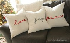 "Create these easy DIY Christmas pillows on the cheap! Use any text you would like. Simple steps included..even ""non-sewers"" can make these!"
