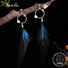 INALIS Feather 925 Sterling Silver Drop Earrings for Women Boucle d'oreille Femme Bijoux Brincos Accessories Fashion Jewelry