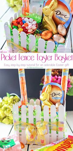 This adorable Picket Fence Easter Basket is easy to make with this step-by-step tutorial using tongue depressors or popsicle sticks. Load it full of your favorite Easter candy & you know everyone will love it. It's definitely my favorite Easter craft! Makes for a great display in an entryway for all your Easter party guests or even to decorate at your office. You won't believe just how quickly you can make your own! #EasterSweets #ad
