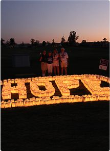 Relay for Life luminarias  in memory, in support or in honor of those affected by cancer